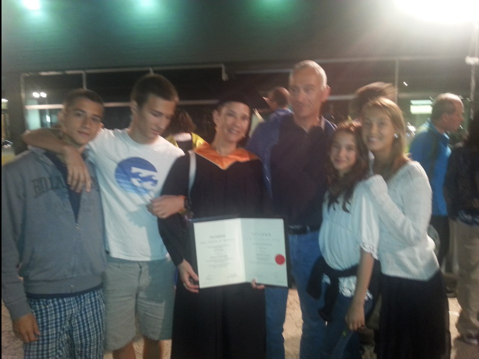 daughter gali, husband and children at the ceremony of her phd in technion may 2014