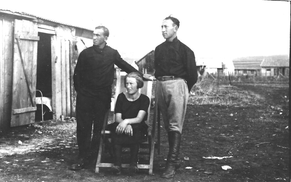 parents rivka and yona with his brother naftali, left, at kfar yehoshua first days, 1926